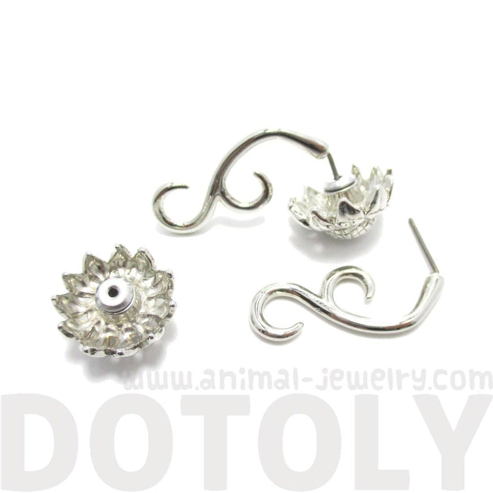 3D Sunflower Floral Flower Shaped Earrings in Silver