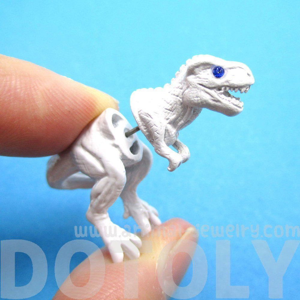 T-Rex Dinosaur Shaped Front Back Stud Earrings in White