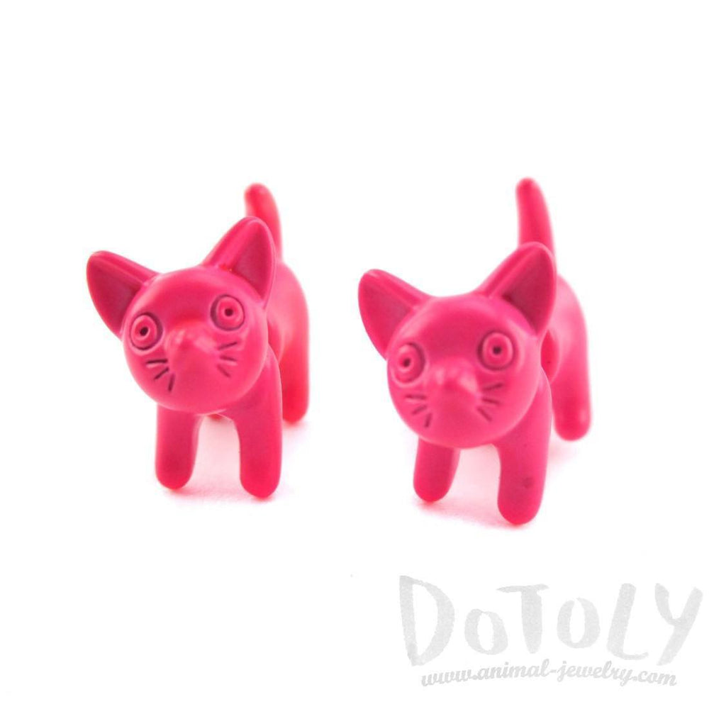 3D Adorable Kitty Cat Animal Plug Earrings in Neon Pink