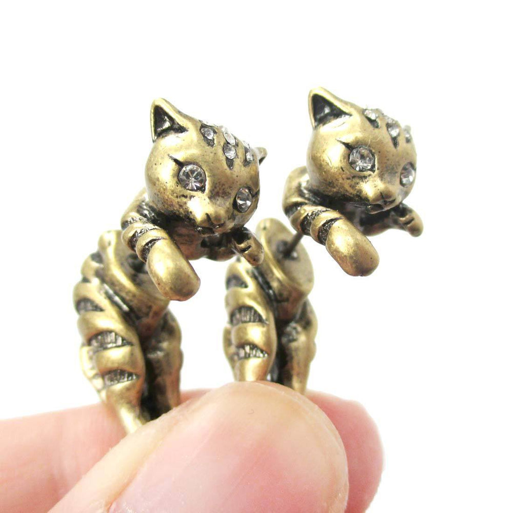 Cute Kitty Cat Shaped Animal Themed Fake Gauge Stud Earrings in Brass