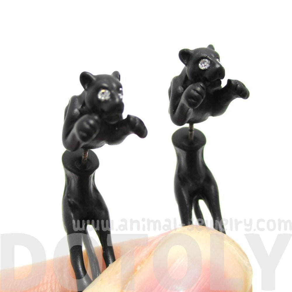 Black Panther Wild Cat Shaped Front Back Stud Earrings