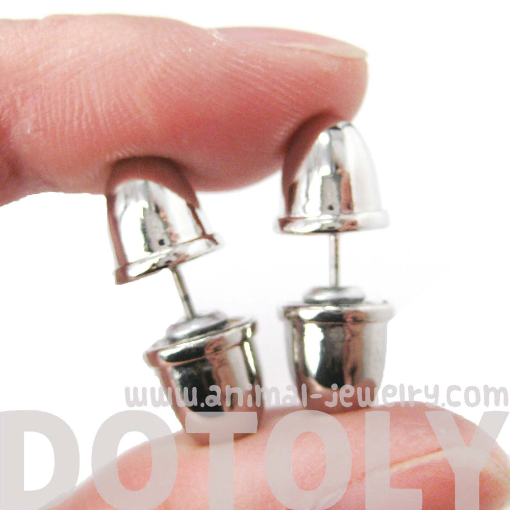 Bullet Shaped Faux Plug Taper Stud Fake Gauge Earrings in Shiny Silver