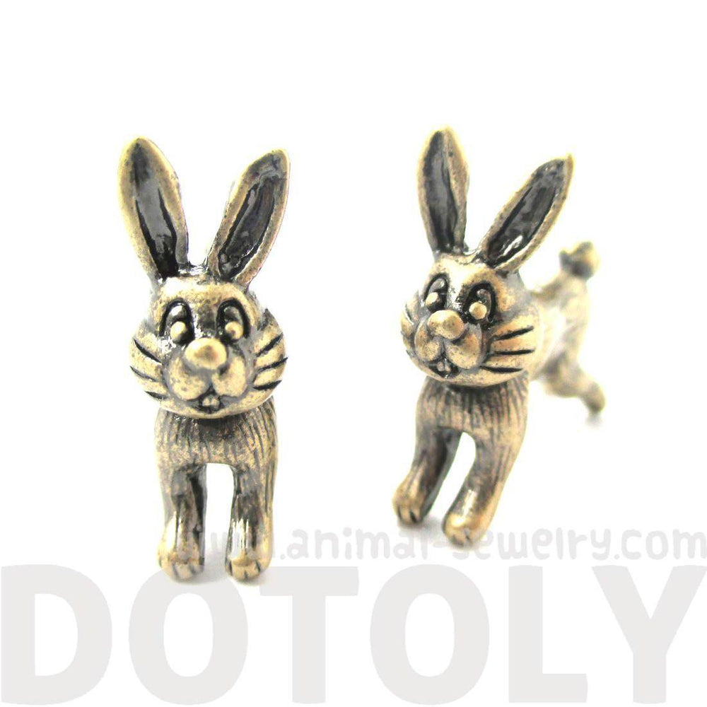 Cute Bunny Rabbit Animal Shaped Plug Fake Gauge Stud Earrings in Brass