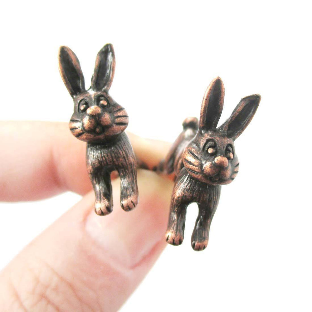 Cute Bunny Rabbit Animal Shaped Plug Fake Gauge Copper Stud Earrings