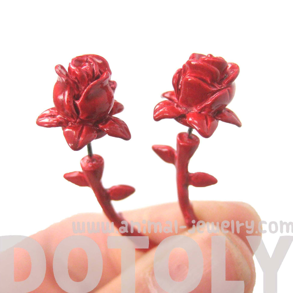 Detailed Rose Floral Flower Shaped Plug Fake Gauge Earrings in Red