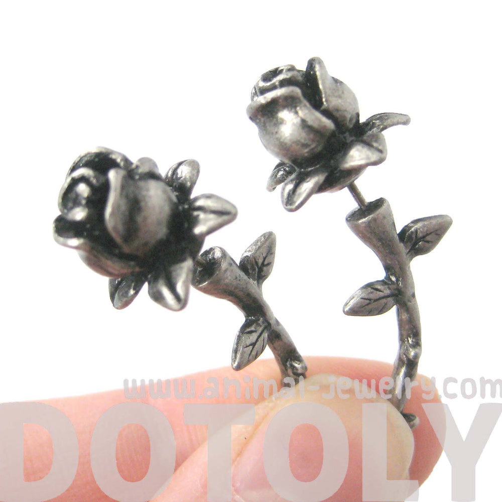 Fake Gauge Earrings: Detailed Rose Floral Flower Shaped Plug Earrings in Silver | DOTOLY