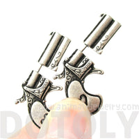 Double Pistol Gun Shaped Faux Plug Fake Gauge Stud Earrings in Silver
