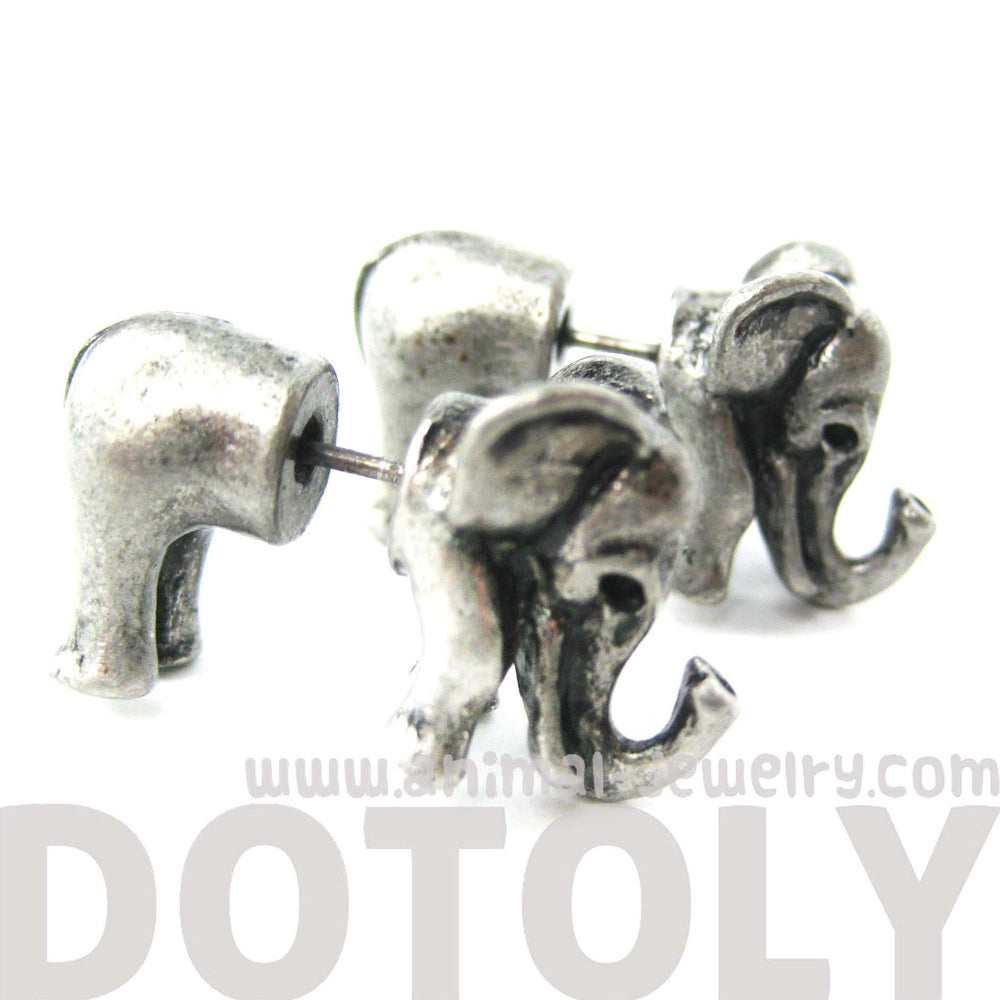 fake-gauge-earrings-elephant-shaped-animal-plug-earrings-in-silver