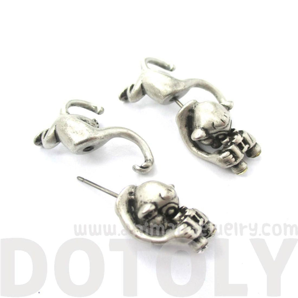 Monkey with Binoculars Shaped Front and Back Stud Earrings in Silver | DOTOLY