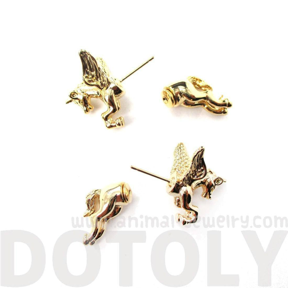 Fake Gauge Earrings: Mythical Unicorn Animal Front and Back Stud Earrings in Shiny Gold | DOTOLY