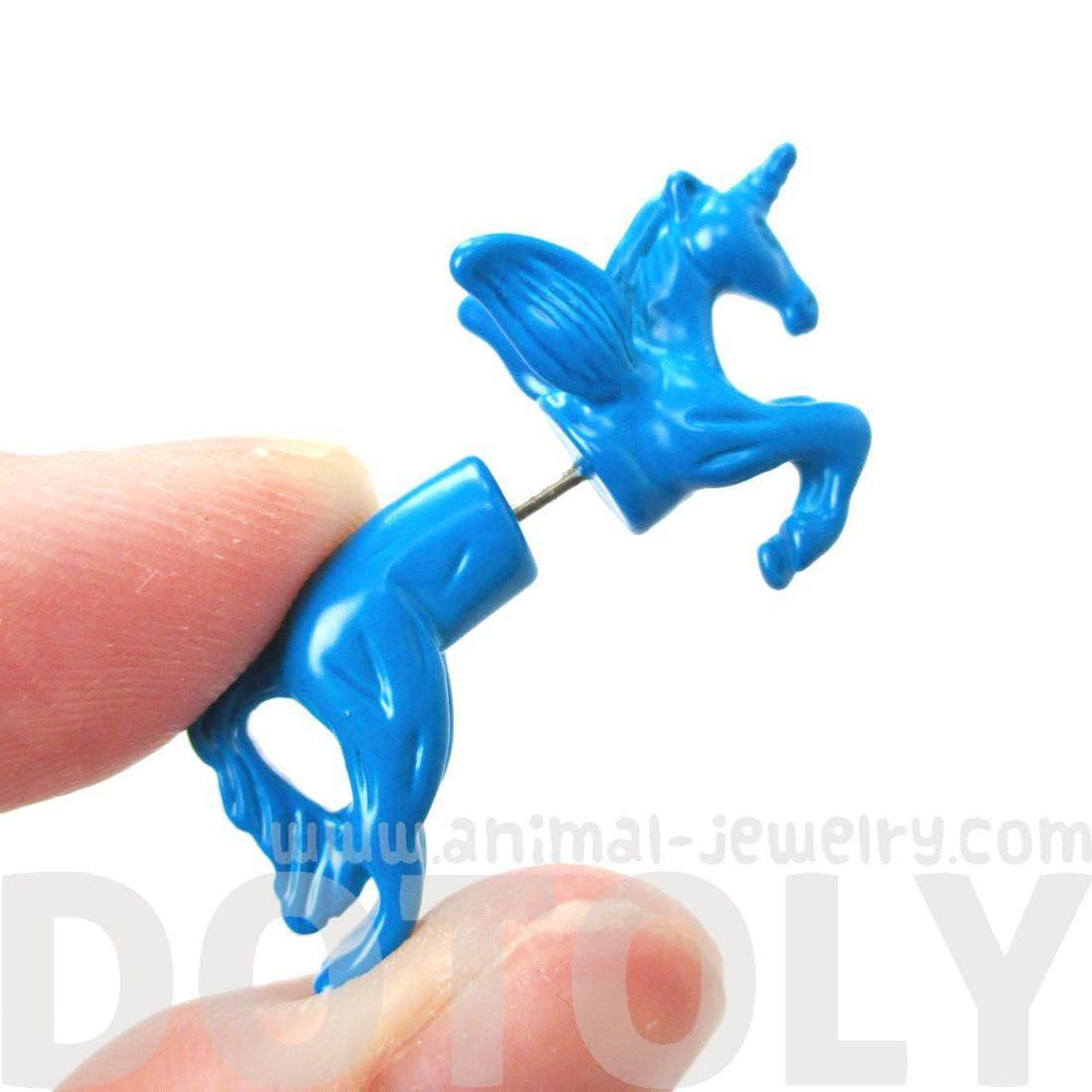 Fake Gauge Earrings: Mythical Unicorn Horse Animal Faux Plug Stud Earrings in Blue | DOTOLY