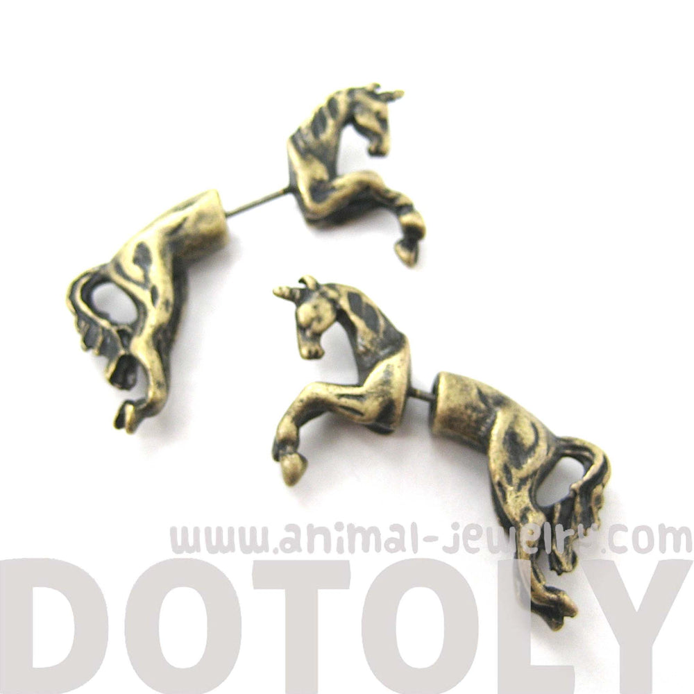 Fake Gauge Earrings: Mythical Unicorn Horse Animal Faux Plug Stud Earrings in Brass | DOTOLY