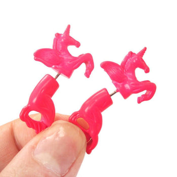 Fake Gauge Earrings: Mythical Unicorn Horse Animal Faux Plug Stud Earrings in Bright Pink | DOTOLY