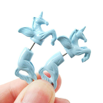 Fake Gauge Earrings: Mythical Unicorn Horse Animal Faux Plug Stud Earrings in Light Blue | DOTOLY