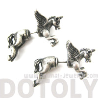 Fake Gauge Earrings: Mythical Unicorn Horse Animal Faux Plug Stud Earrings in Silver | DOTOLY