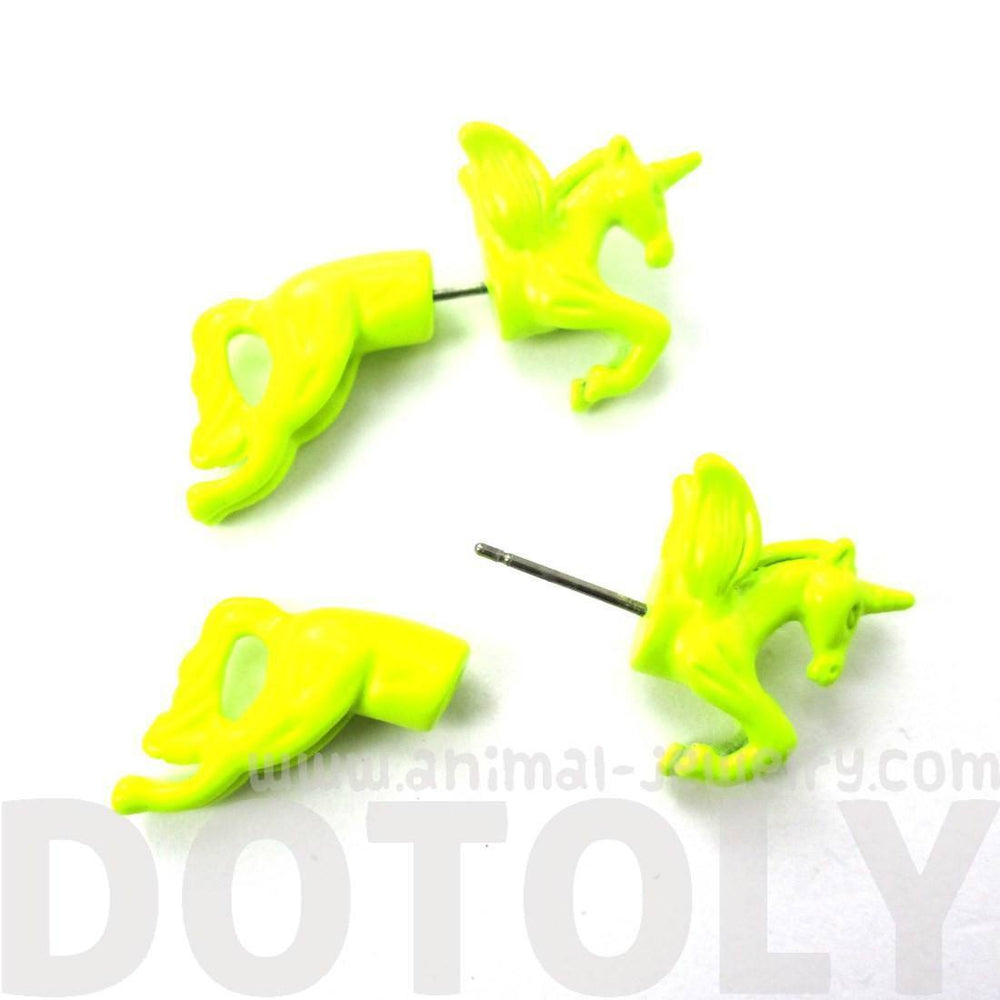 Fake Gauge Earrings: Mythical Unicorn Horse Animal Front and Back Stud Earrings in Neon Yellow | DOTOLY