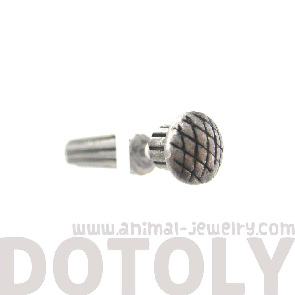 Fake Gauge Earrings: Nail Spike Stake Shaped Faux Plug Stud Earrings in Silver | DOTOLY