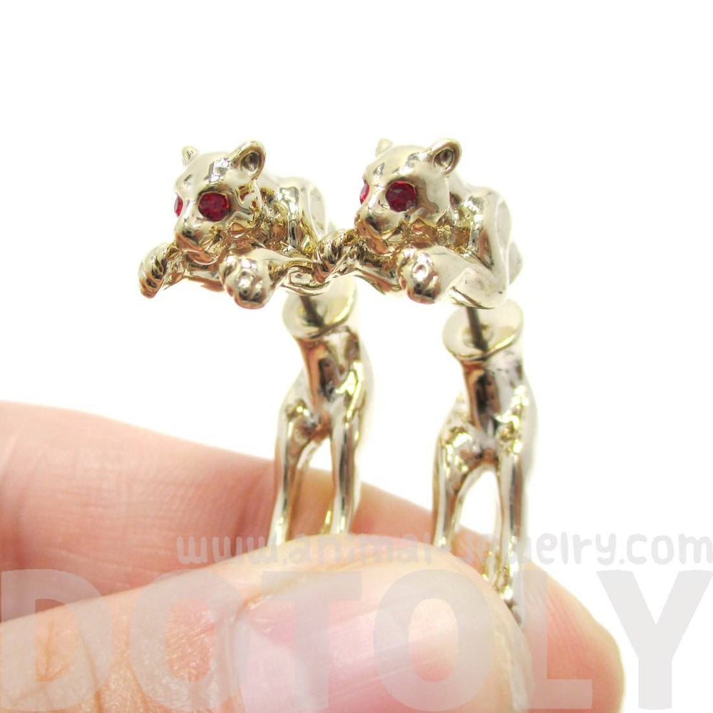 Fake Gauge Earrings: Pouncing Leopard Jaguar Wild Cat Shaped Front and Back Earrings in Gold | DOTOLY