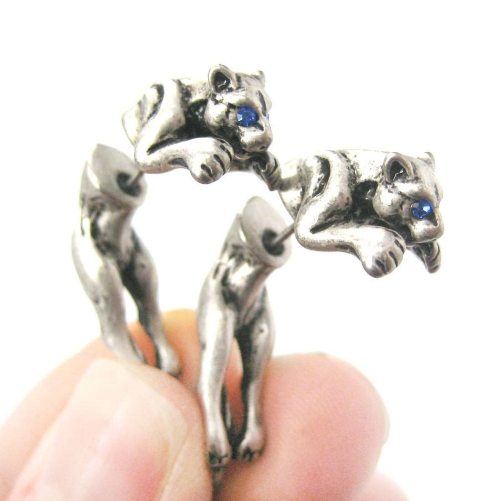 Fake Gauge Earrings: Pouncing Tiger Leopard Safari Wild Cat Shaped Plug Earrings in Silver | DOTOLY