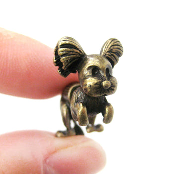 Fake Gauge Earrings: Puppy Dog Shaped Faux Plug Stud Earrings in Brass | DOTOLY