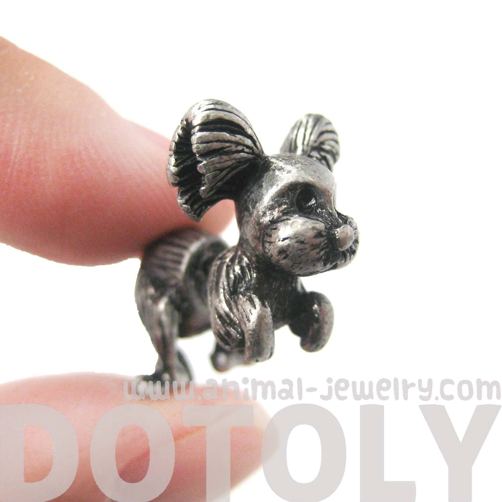 Fake Gauge Earrings: Puppy Dog Shaped Faux Plug Stud Earrings in Silver | DOTOLY