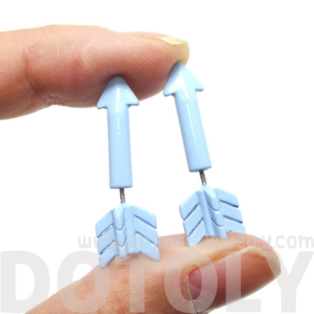 Fake Gauge Earrings: Realistic Arrow Shaped Faux Plug Stud Earrings in Pale Blue | DOTOLY