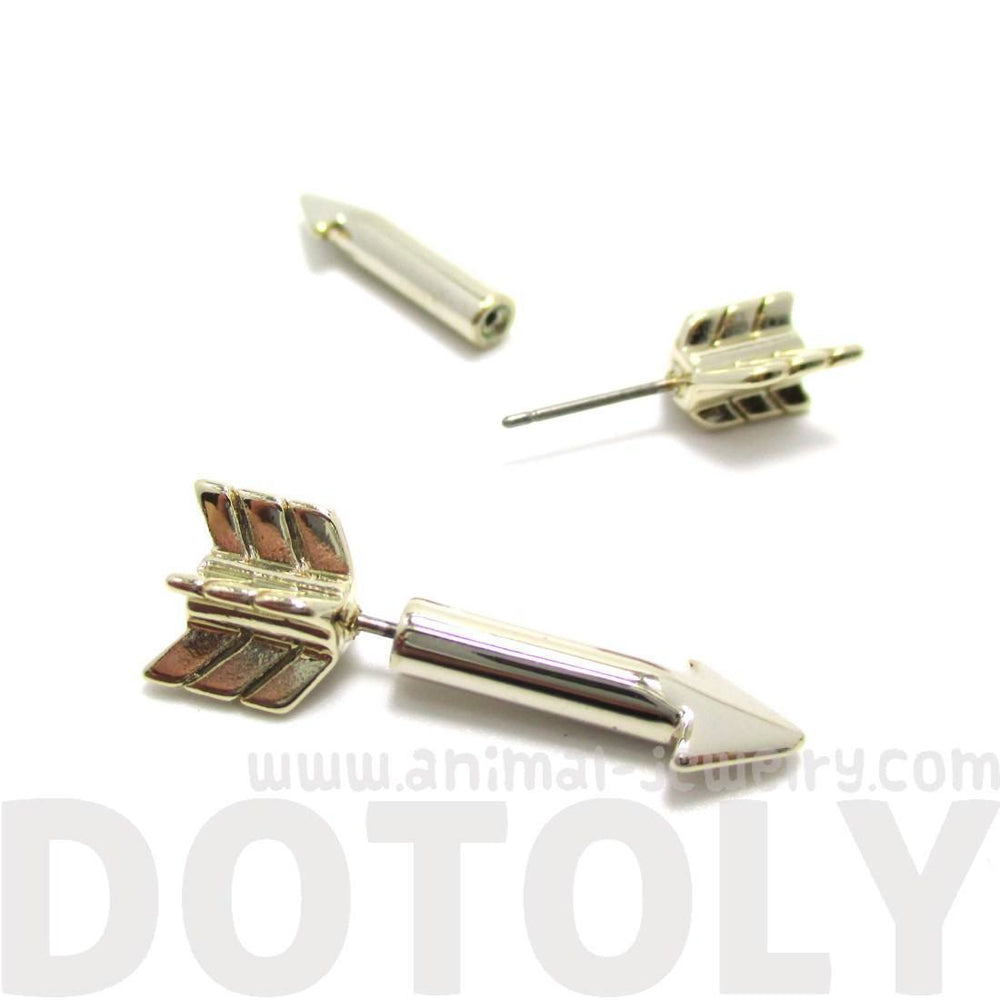 Fake Gauge Earrings: Realistic Arrow Shaped Faux Plug Stud Earrings in Shiny Gold | DOTOLY
