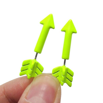 Fake Gauge Earrings: Realistic Arrow Shaped Faux Plug Stud Earrings in Yellow | DOTOLY
