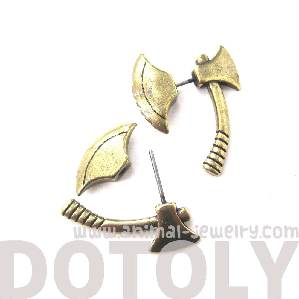 Fake Gauge Earrings: Realistic Axe Shaped Faux Plug Stud Earrings in Brass | DOTOLY