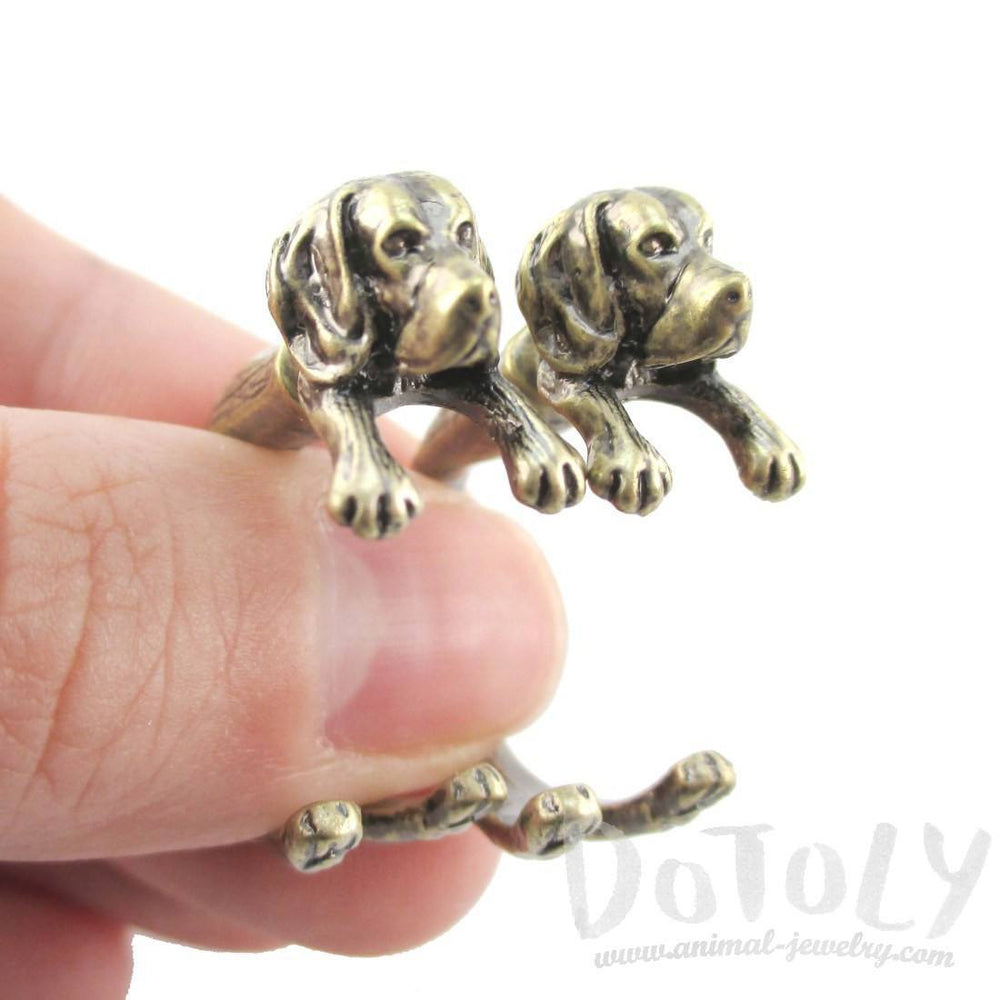 Fake Gauge Earrings: Realistic Beagle Puppy Dog Shaped Two Part Stud Earrings in Brass | DOTOLY