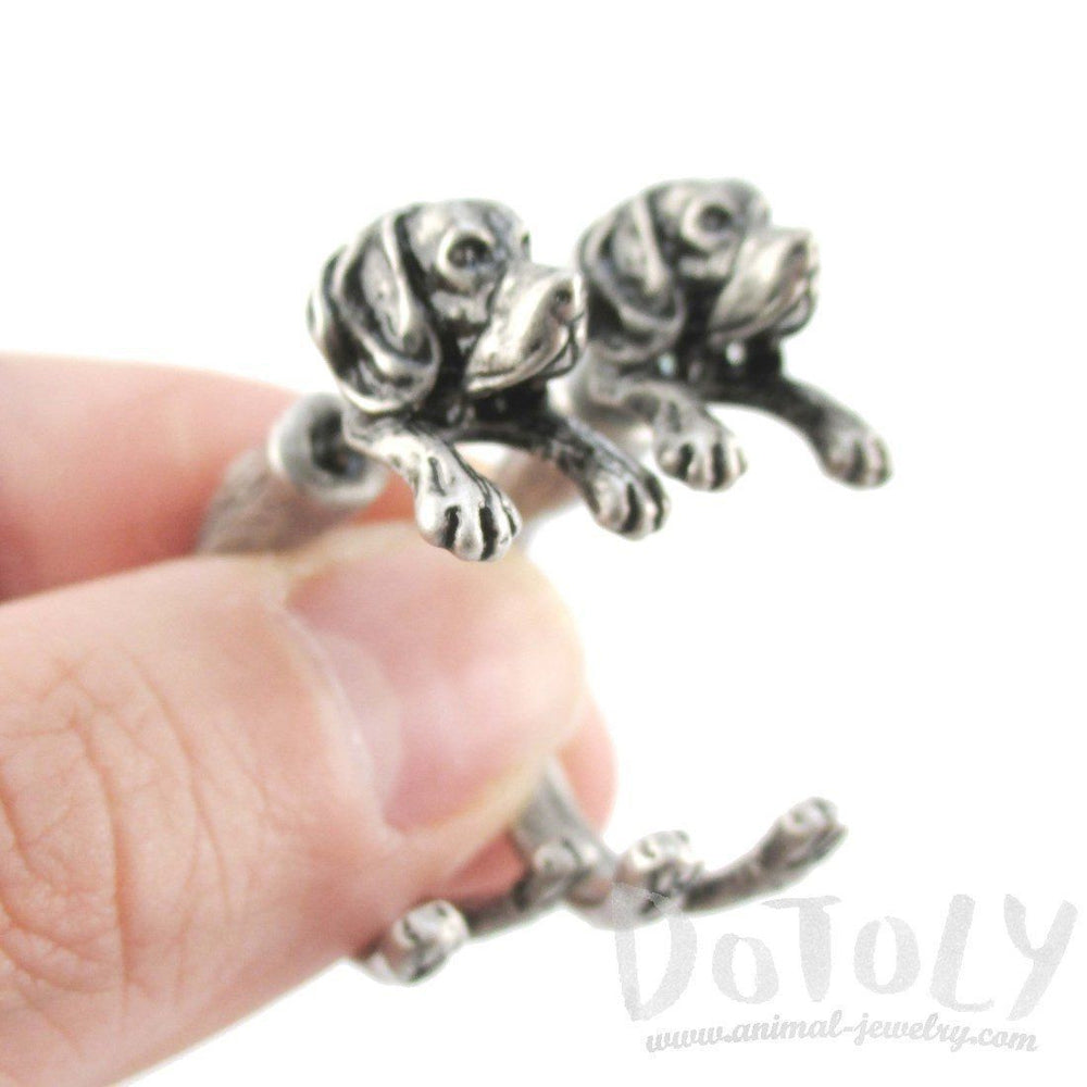 Fake Gauge Earrings: Realistic Beagle Puppy Dog Shaped Two Part Stud Earrings in Silver | DOTOLY