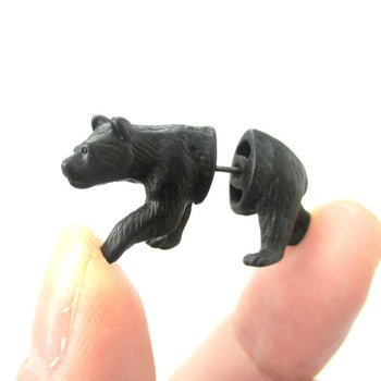 Fake Gauge Earrings: Realistic Black Bear Shaped Animal Themed Faux Plug Stud Earrings | DOTOLY