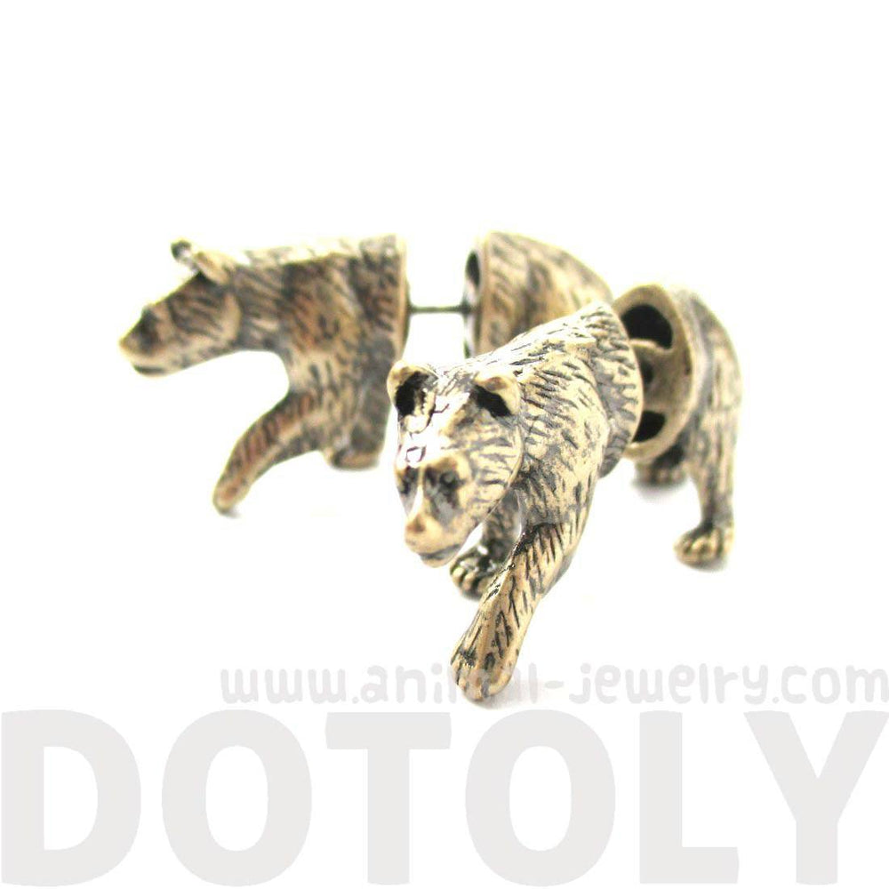 Fake Gauge Earrings: Realistic Brown Bear Shaped Animal Themed Faux Plug Stud Earrings in Brass | DOTOLY