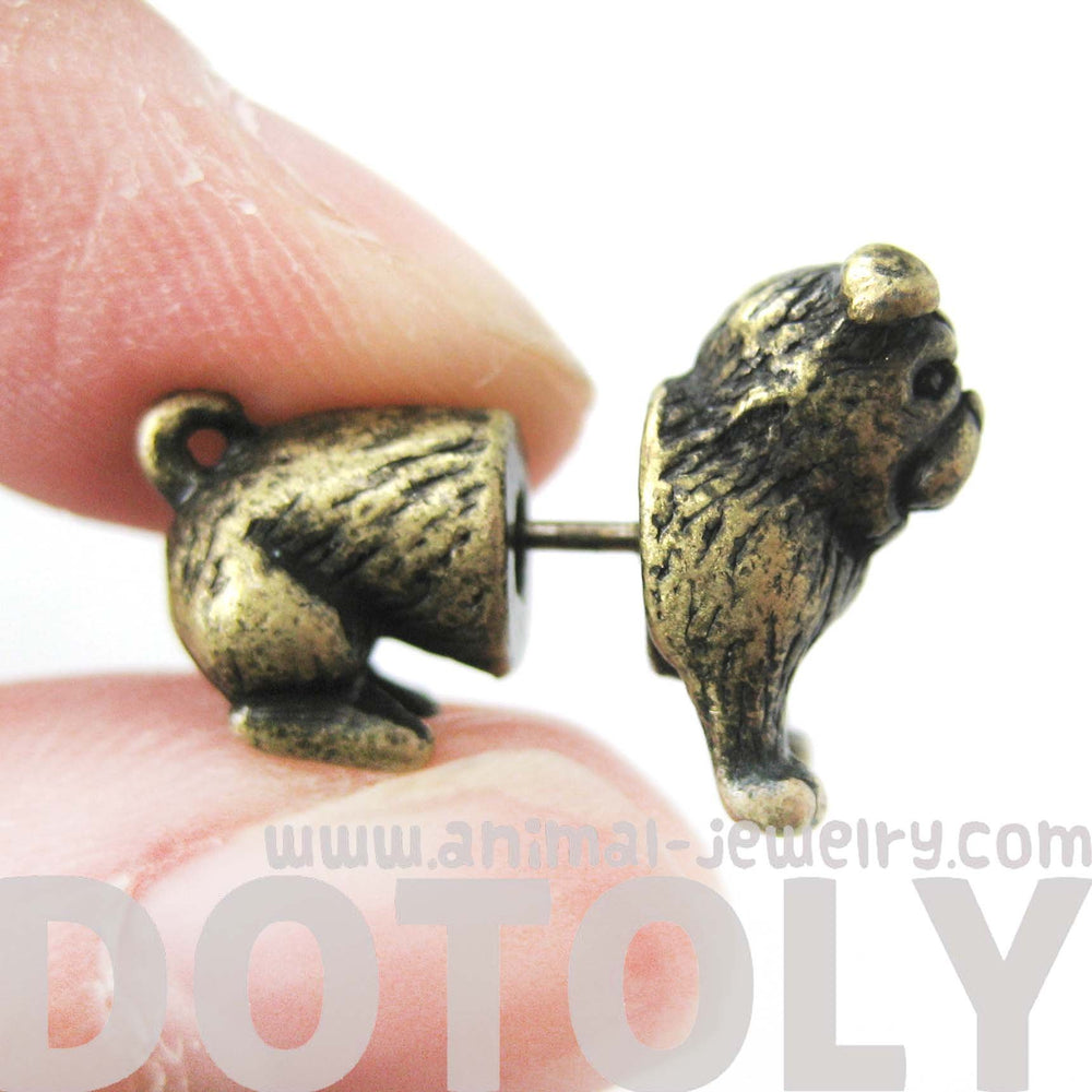 Fake Gauge Earrings: Realistic Bulldog Puppy Dog Animal Stud Earrings in Brass | DOTOLY