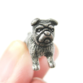 Fake Gauge Earrings: Realistic Bulldog Puppy Dog Animal Stud Earrings in Silver | DOTOLY