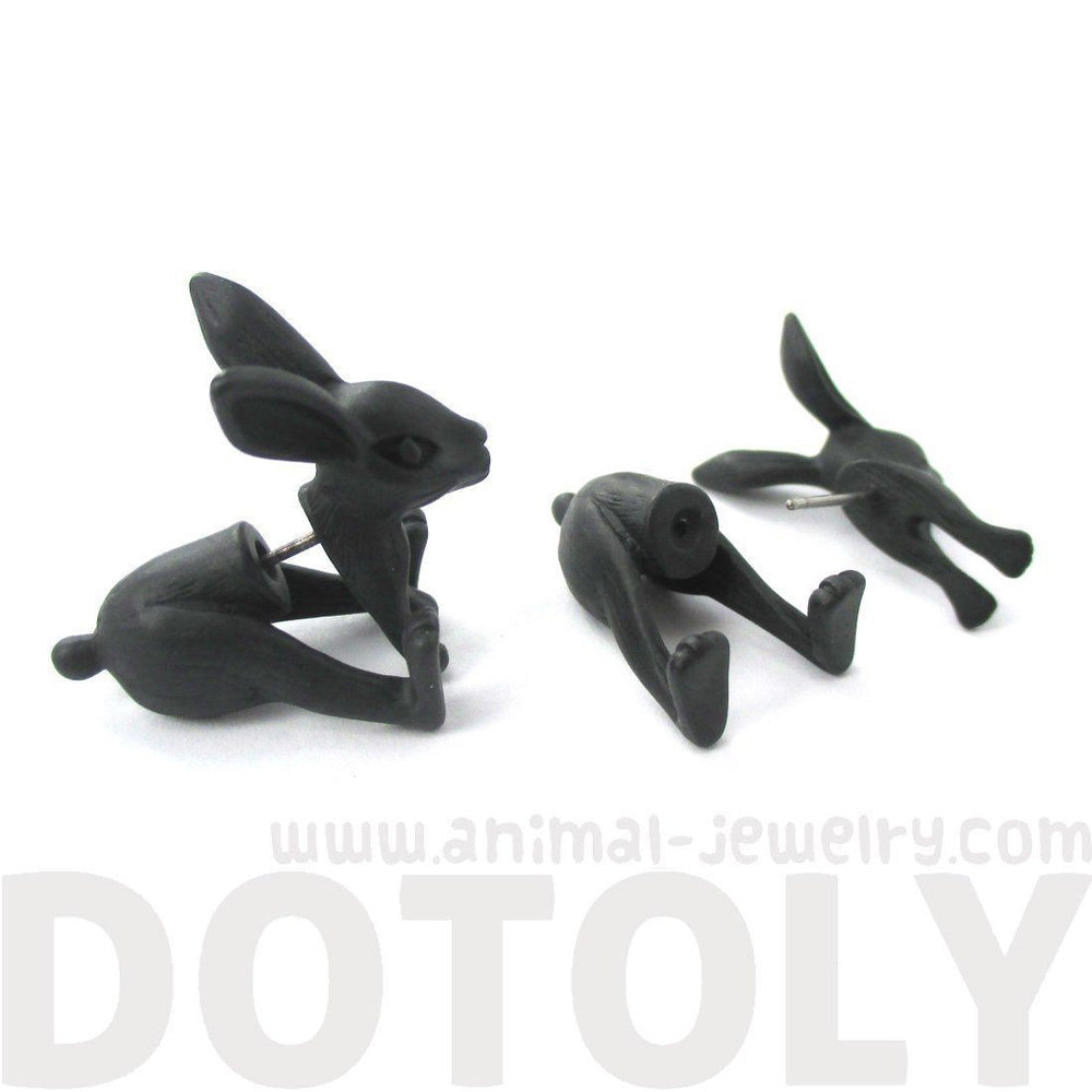 Fake Gauge Earrings: Realistic Bunny Rabbit Animal Shaped Plug Stud Earrings in Black | DOTOLY