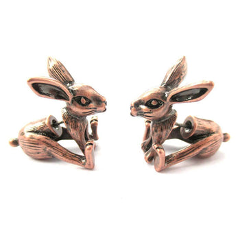 Fake Gauge Earrings: Realistic Bunny Rabbit Animal Shaped Plug Stud Earrings in Copper | DOTOLY