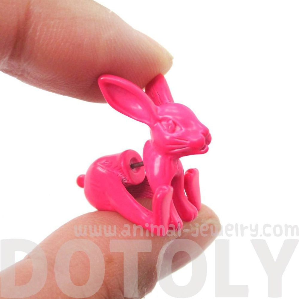 Fake Gauge Earrings: Realistic Bunny Rabbit Animal Shaped Plug Stud Earrings in Neon Pink | DOTOLY