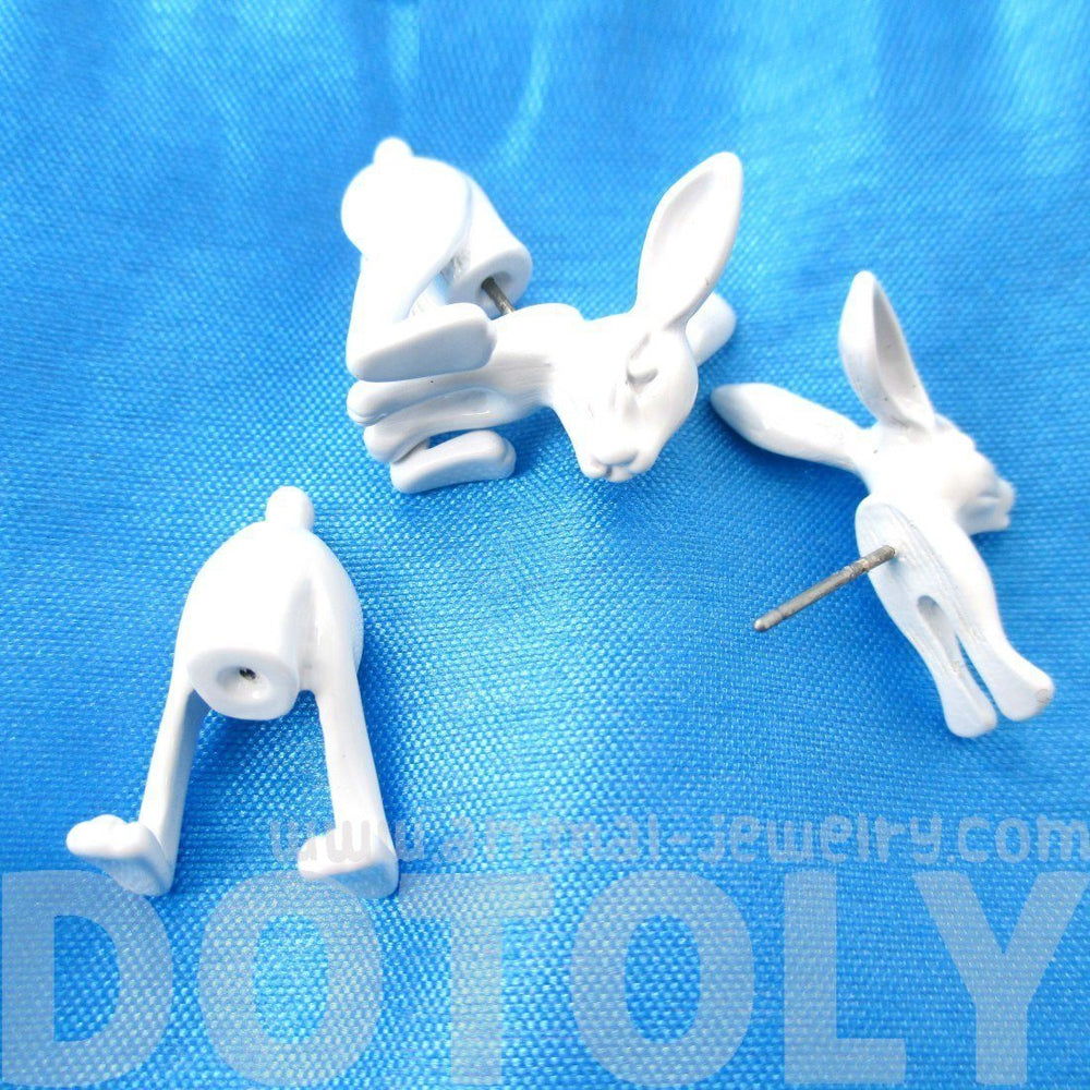 Fake Gauge Earrings: Realistic Bunny Rabbit Animal Shaped Plug Stud Earrings in White | DOTOLY