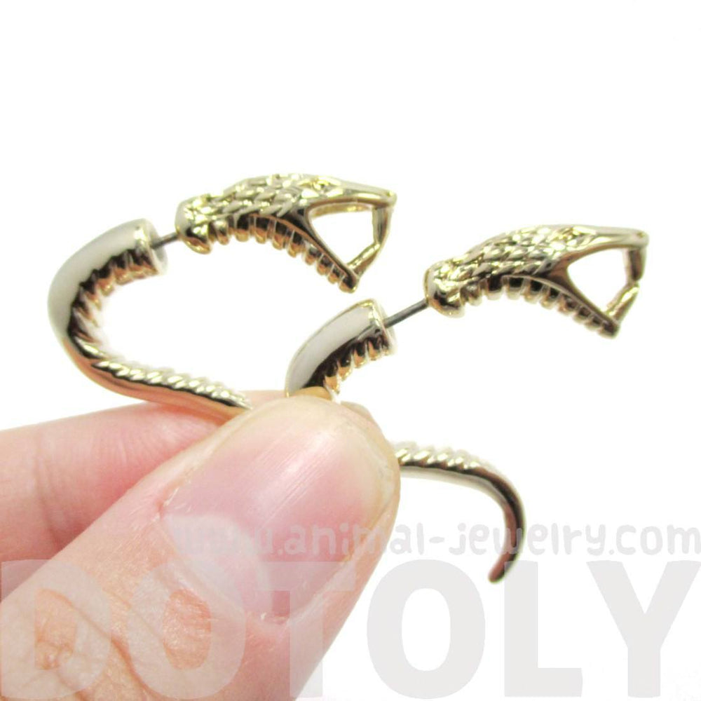 Fake Gauge Earrings: Realistic Cobra Snake Shaped Front and Back Stud Earrings in Gold | DOTOLY