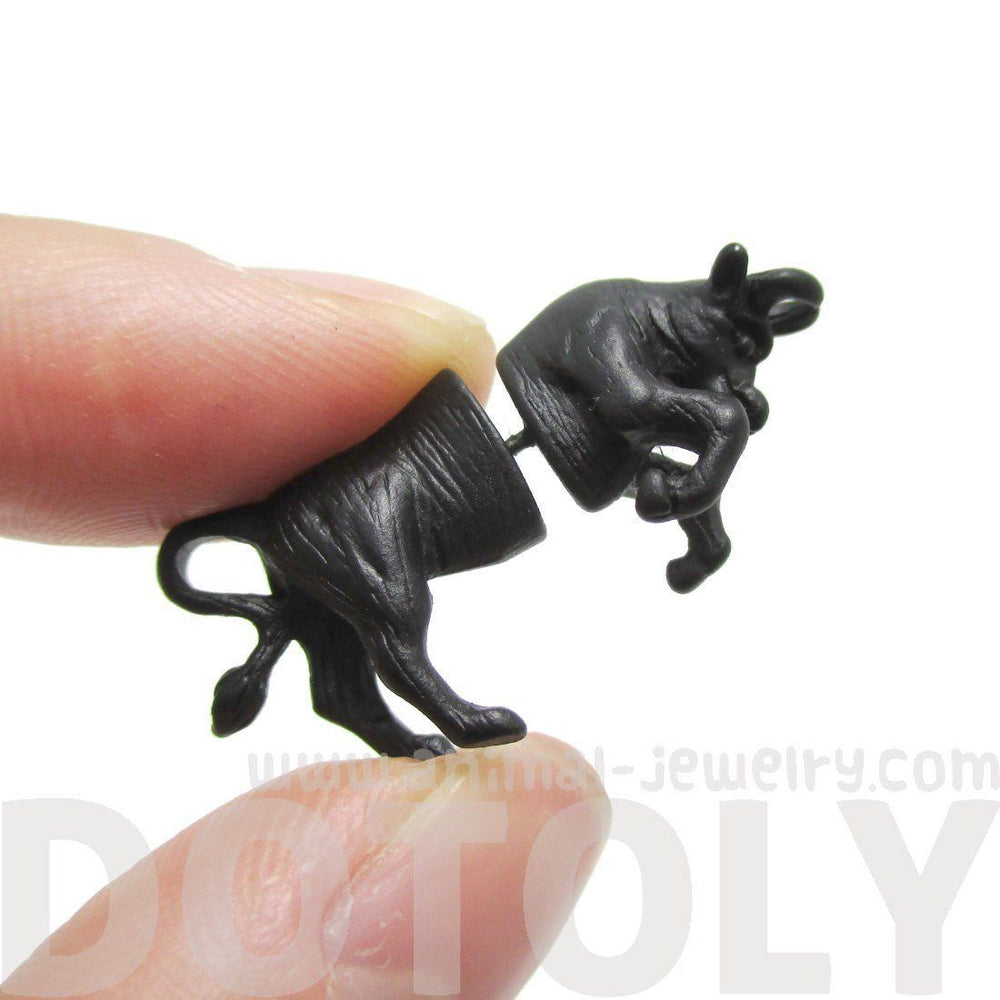 Fake Gauge Earrings: Realistic Cow Bull Shaped Animal Front and Back Earrings in Black | DOTOLY