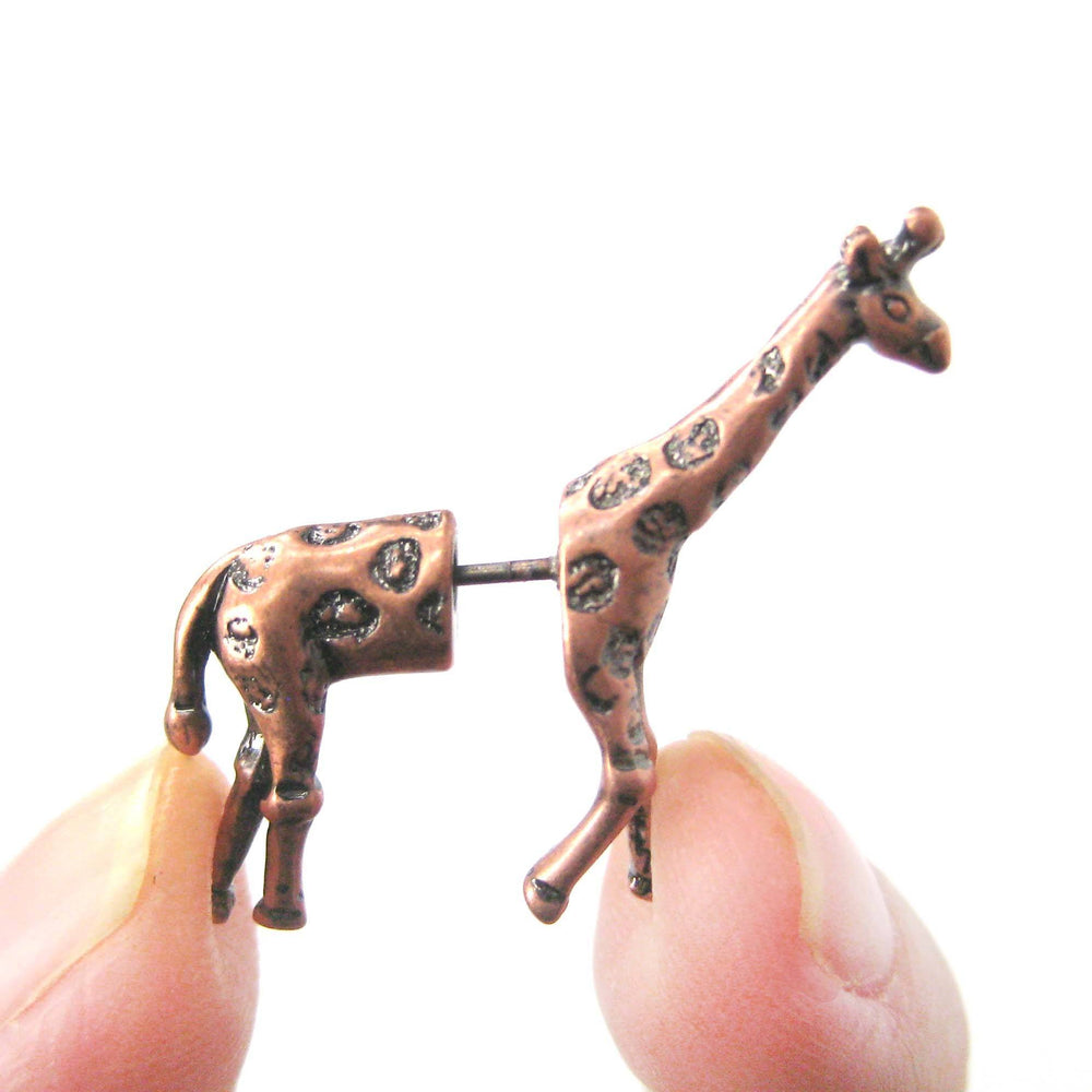 Fake Gauge Earrings: Realistic Giraffe Shaped Animal Faux Plug Stud Earrings in Copper | DOTOLY
