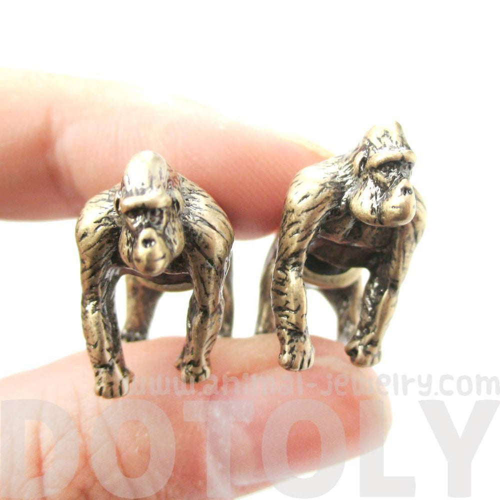 Fake Gauge Earrings: Realistic Gorilla Monkey Shaped Animal Themed Stud Earrings in Brass | DOTOLY