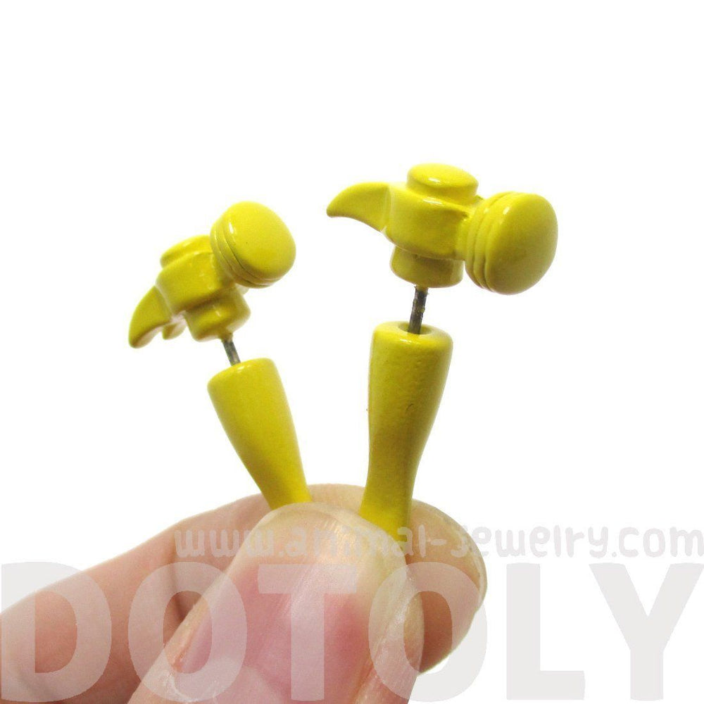 Fake Gauge Earrings: Realistic Hammer Shaped Front and Back Stud Earrings in Yellow | DOTOLY