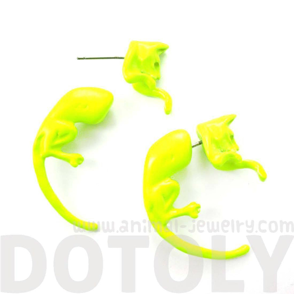 Fake Gauge Earrings: Realistic Kitty Cat Pet Animal Shaped Plug Stud Earrings in Neon Yellow | DOTOLY