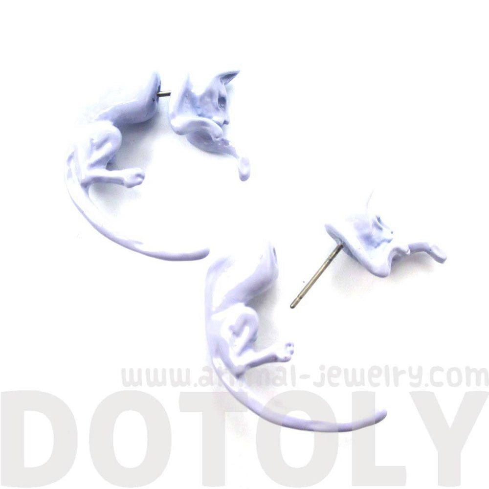 Fake Gauge Earrings: Realistic Kitty Cat Pet Animal Shaped Plug Stud Earrings in Pale Purple | DOTOLY