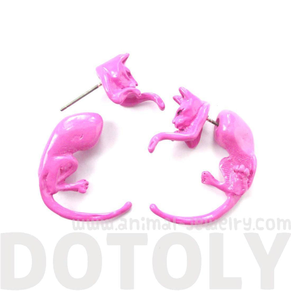 Fake Gauge Earrings: Realistic Kitty Cat Pet Animal Shaped Plug Stud Earrings in Pink | DOTOLY