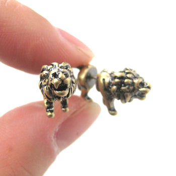 Fake Gauge Earrings: Realistic Lion Animal Shaped Plug Earrings in Brass | DOTOLY