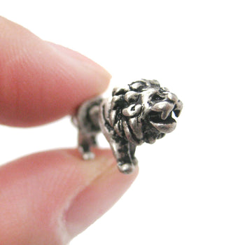 Fake Gauge Earrings: Realistic Lion Animal Shaped Plug Earrings in Silver | DOTOLY