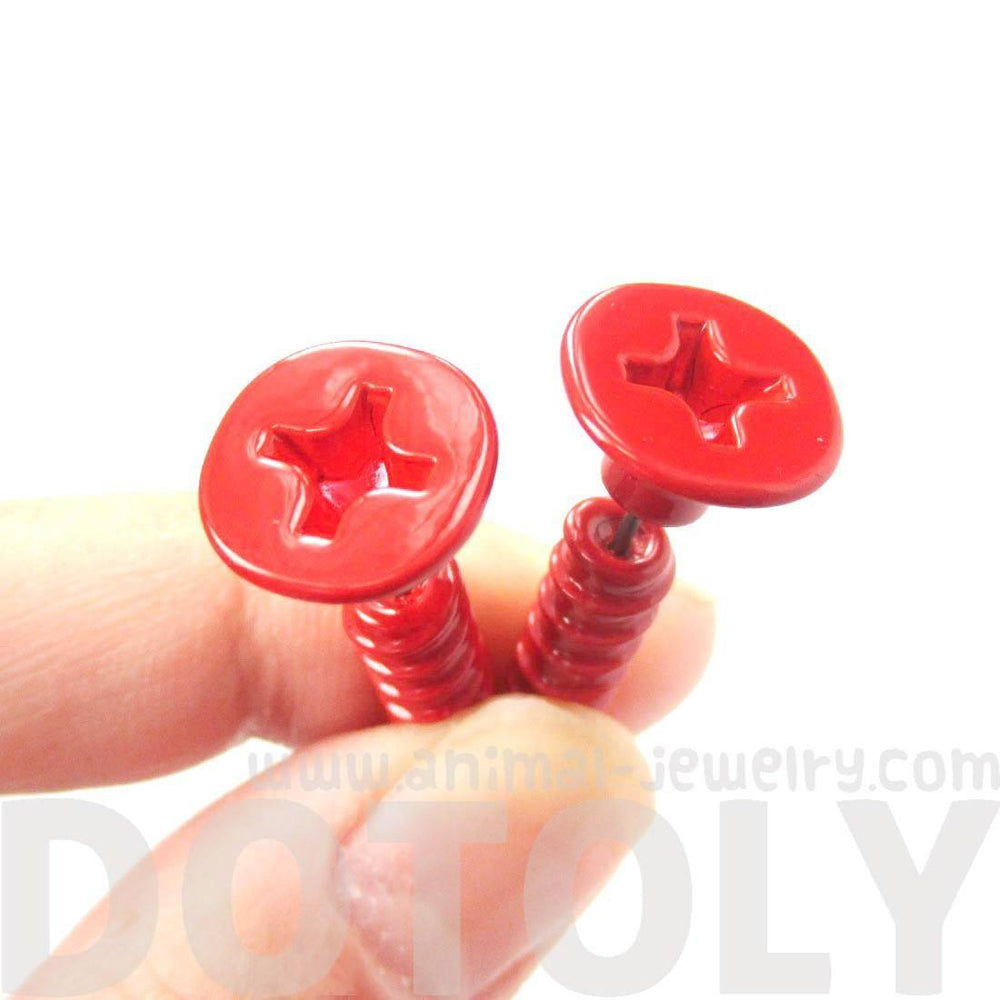 Fake Gauge Earrings: Realistic Screw Shaped Faux Plug Stud Earrings in Red | DOTOLY